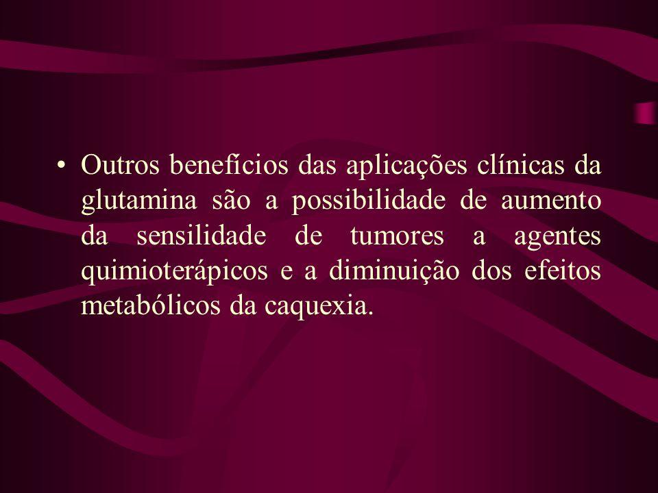 Outros benefícios das aplicações clínicas da glutamina são a possibilidade de aumento da sensilidade de tumores a agentes quimioterápicos e a diminuição dos efeitos metabólicos da caquexia.