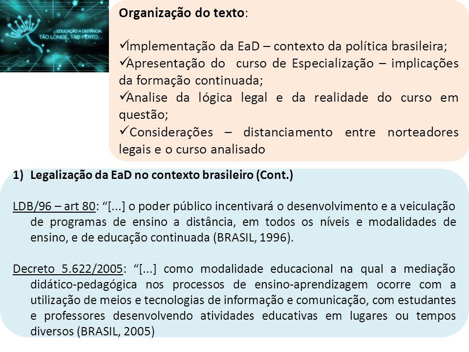 Implementação da EaD – contexto da política brasileira;