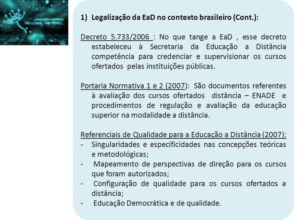 Legalização da EaD no contexto brasileiro (Cont.):