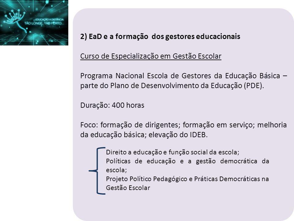 2) EaD e a formação dos gestores educacionais