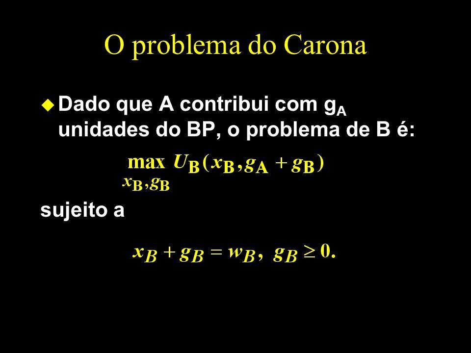 O problema do Carona Dado que A contribui com gA unidades do BP, o problema de B é: sujeito a