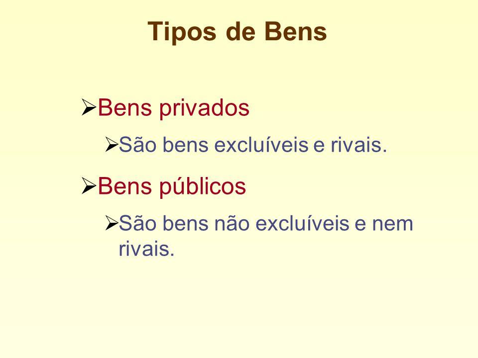 Tipos de Bens Bens privados Bens públicos
