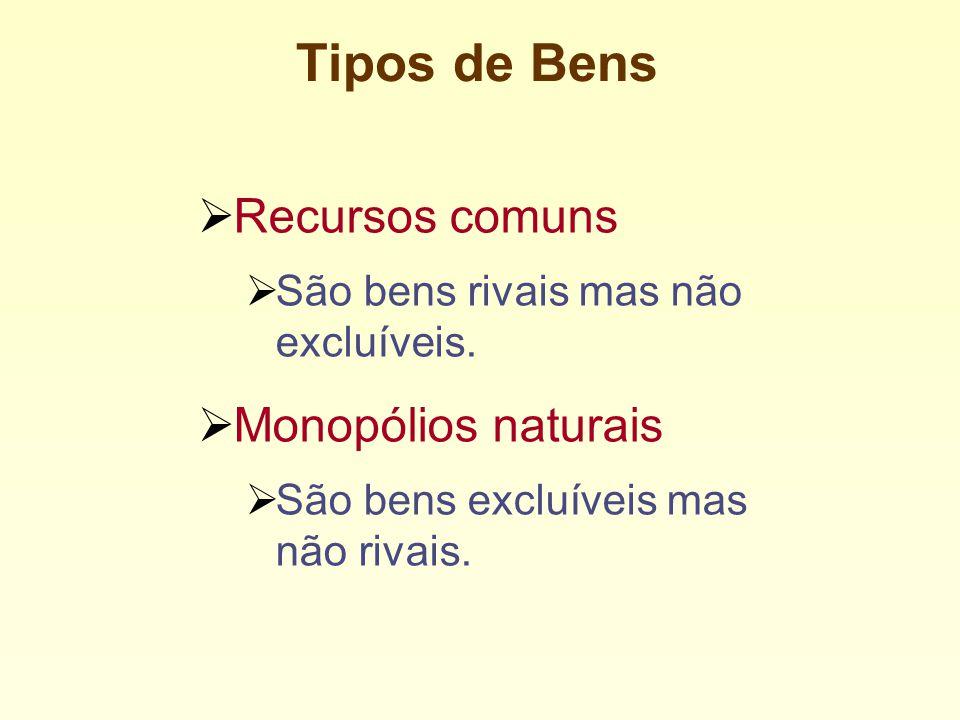 Tipos de Bens Recursos comuns Monopólios naturais