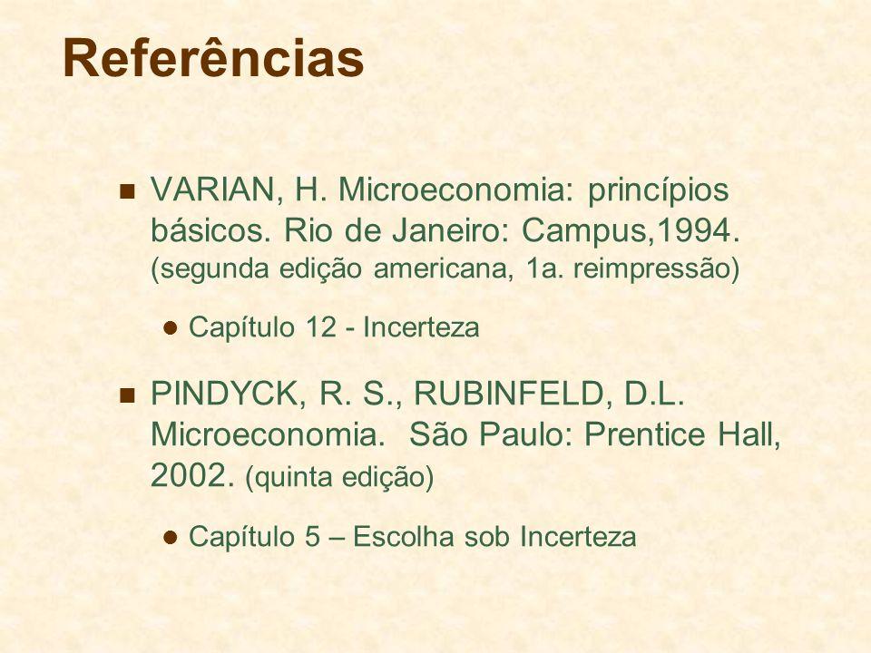 Referências VARIAN, H. Microeconomia: princípios básicos. Rio de Janeiro: Campus,1994. (segunda edição americana, 1a. reimpressão)