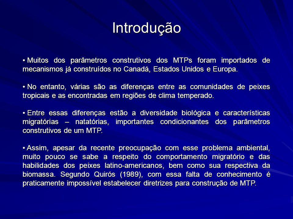 Introdução Muitos dos parâmetros construtivos dos MTPs foram importados de mecanismos já construídos no Canadá, Estados Unidos e Europa.