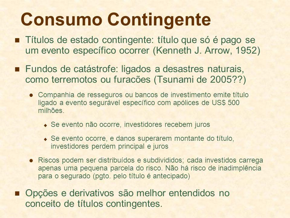 Consumo Contingente Títulos de estado contingente: título que só é pago se um evento específico ocorrer (Kenneth J. Arrow, 1952)