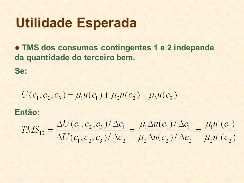 Utilidade Esperada TMS dos consumos contingentes 1 e 2 independe da quantidade do terceiro bem. Se: