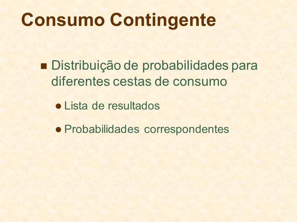 Consumo Contingente Distribuição de probabilidades para diferentes cestas de consumo. Lista de resultados.