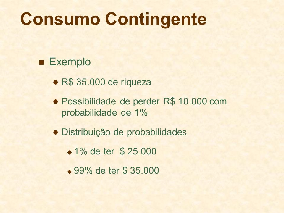 Consumo Contingente Exemplo R$ 35.000 de riqueza