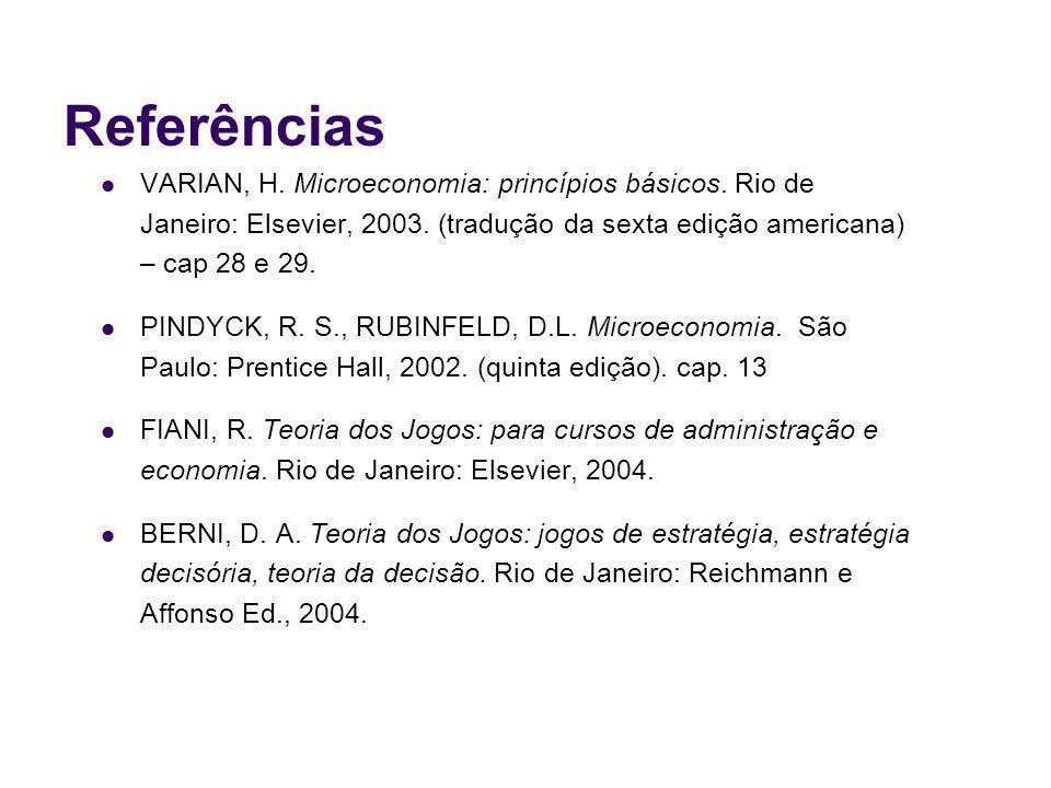 Referências VARIAN, H. Microeconomia: princípios básicos. Rio de Janeiro: Elsevier, 2003. (tradução da sexta edição americana) – cap 28 e 29.