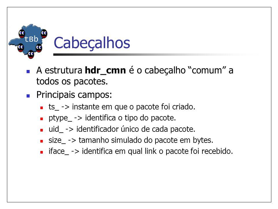 Cabeçalhos A estrutura hdr_cmn é o cabeçalho comum a todos os pacotes. Principais campos: ts_ -> instante em que o pacote foi criado.