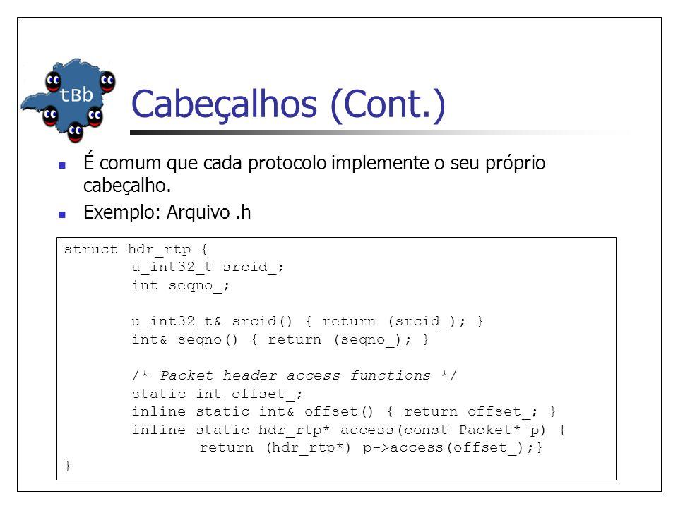 Cabeçalhos (Cont.) É comum que cada protocolo implemente o seu próprio cabeçalho. Exemplo: Arquivo .h.