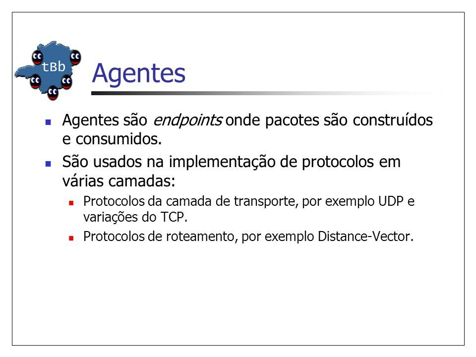 Agentes Agentes são endpoints onde pacotes são construídos e consumidos. São usados na implementação de protocolos em várias camadas: