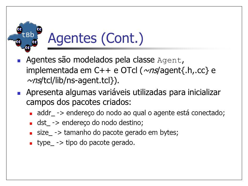Agentes (Cont.) Agentes são modelados pela classe Agent, implementada em C++ e OTcl (~ns/agent{.h,.cc} e ~ns/tcl/lib/ns-agent.tcl}).