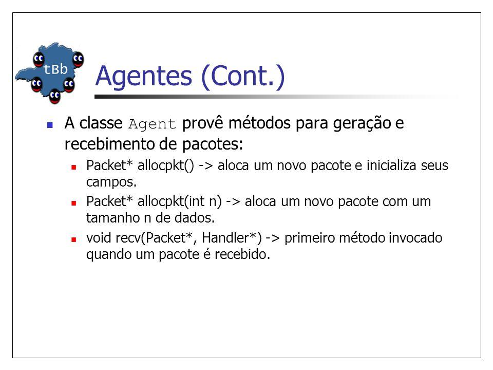 Agentes (Cont.) A classe Agent provê métodos para geração e recebimento de pacotes: