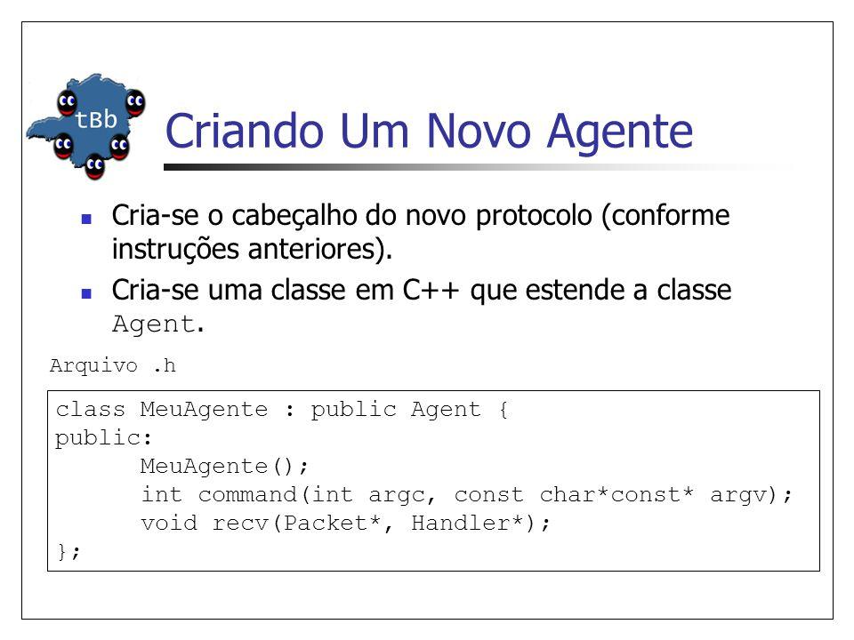 Criando Um Novo Agente Cria-se o cabeçalho do novo protocolo (conforme instruções anteriores). Cria-se uma classe em C++ que estende a classe Agent.