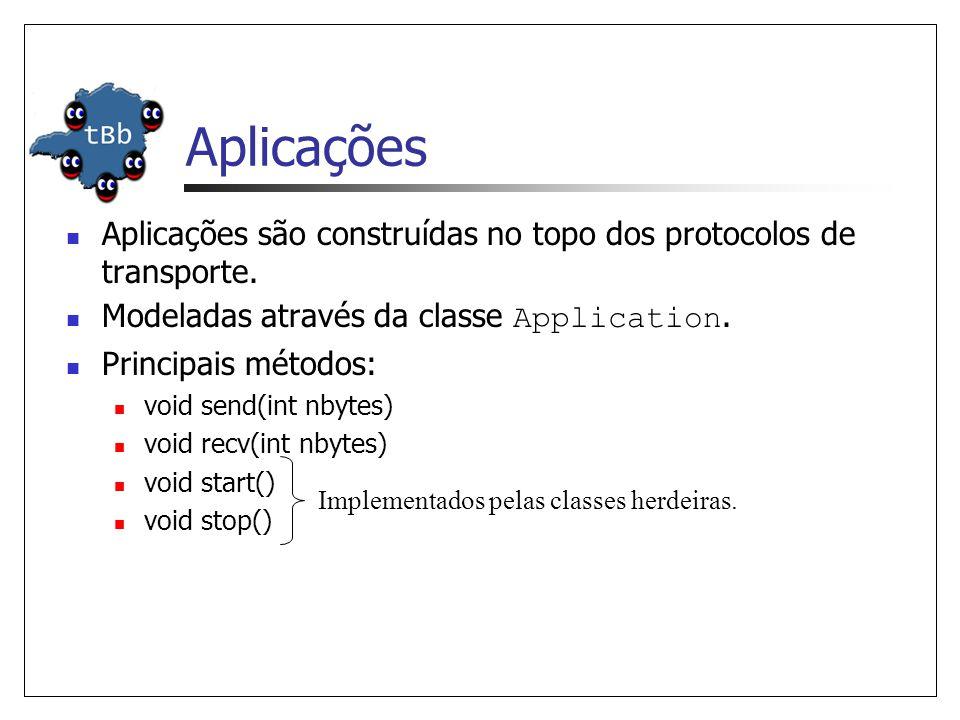 Aplicações Aplicações são construídas no topo dos protocolos de transporte. Modeladas através da classe Application.