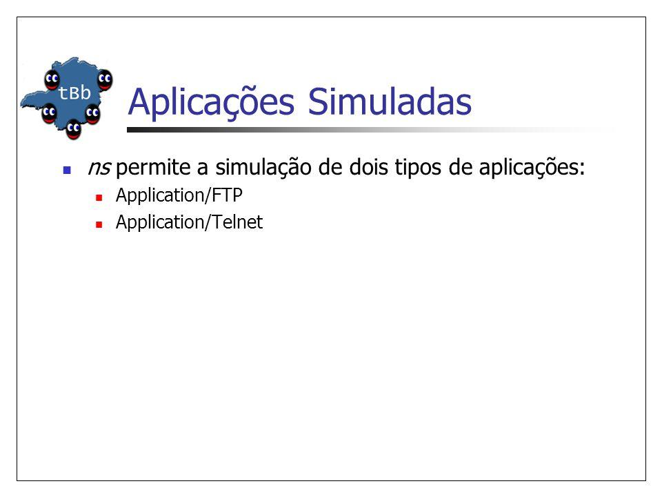 Aplicações Simuladas ns permite a simulação de dois tipos de aplicações: Application/FTP.