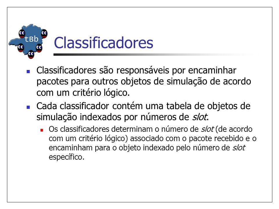Classificadores Classificadores são responsáveis por encaminhar pacotes para outros objetos de simulação de acordo com um critério lógico.
