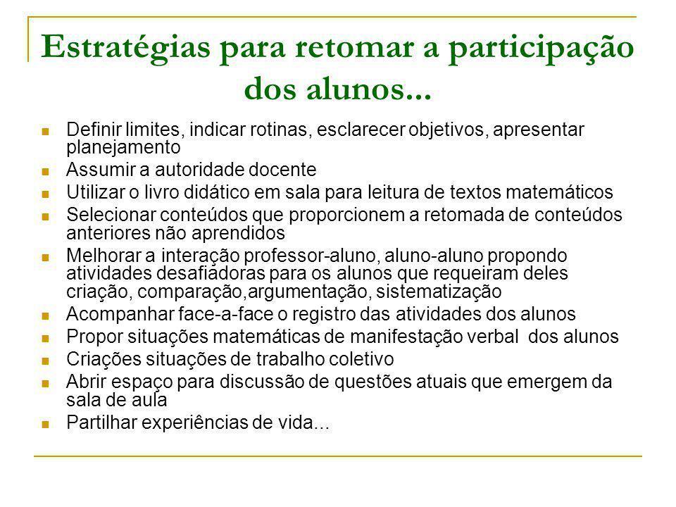 Estratégias para retomar a participação dos alunos...