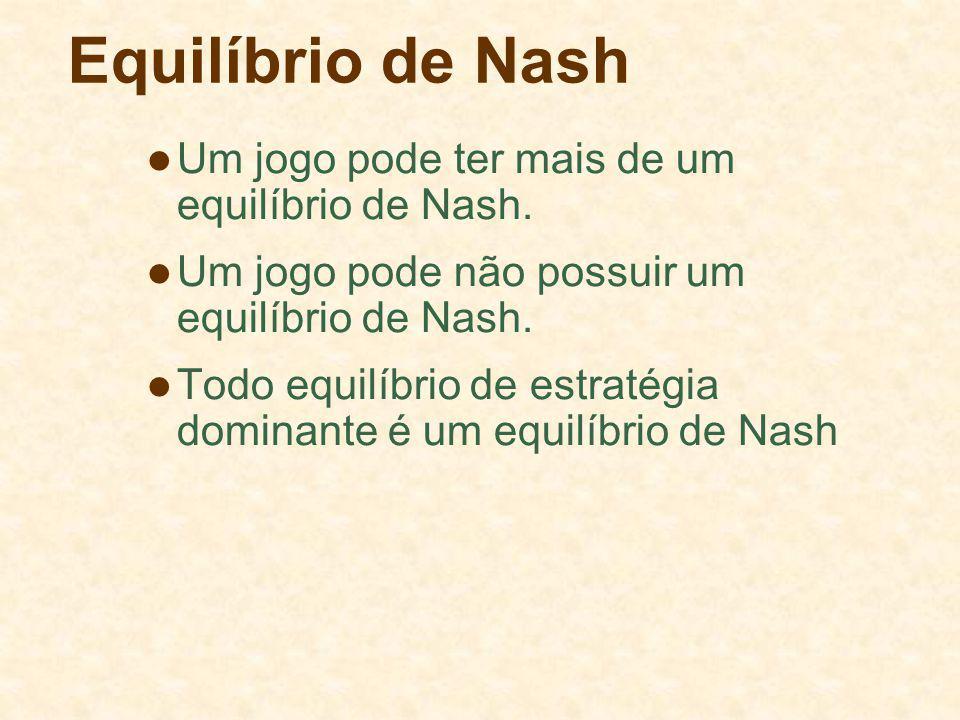 Equilíbrio de Nash Um jogo pode ter mais de um equilíbrio de Nash.