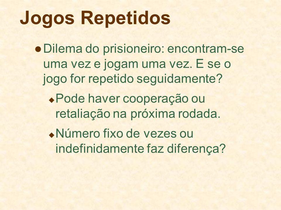 Jogos Repetidos Dilema do prisioneiro: encontram-se uma vez e jogam uma vez. E se o jogo for repetido seguidamente