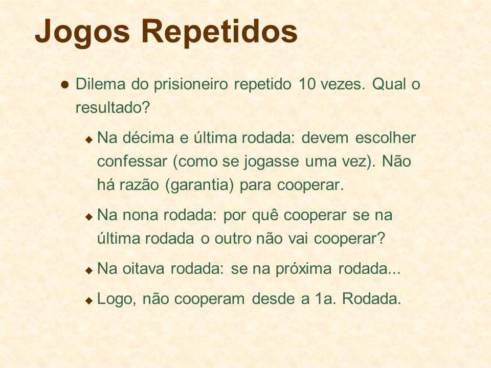 Jogos Repetidos Dilema do prisioneiro repetido 10 vezes. Qual o resultado