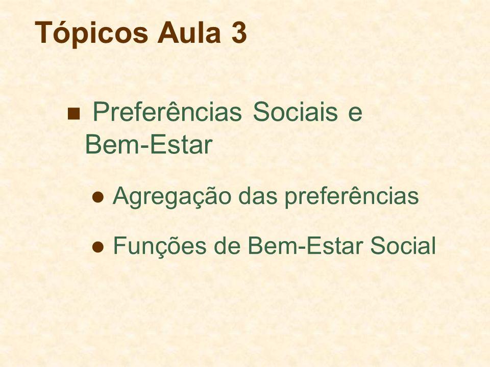 Tópicos Aula 3 Preferências Sociais e Bem-Estar