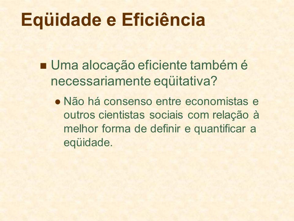 Eqüidade e Eficiência Uma alocação eficiente também é necessariamente eqüitativa