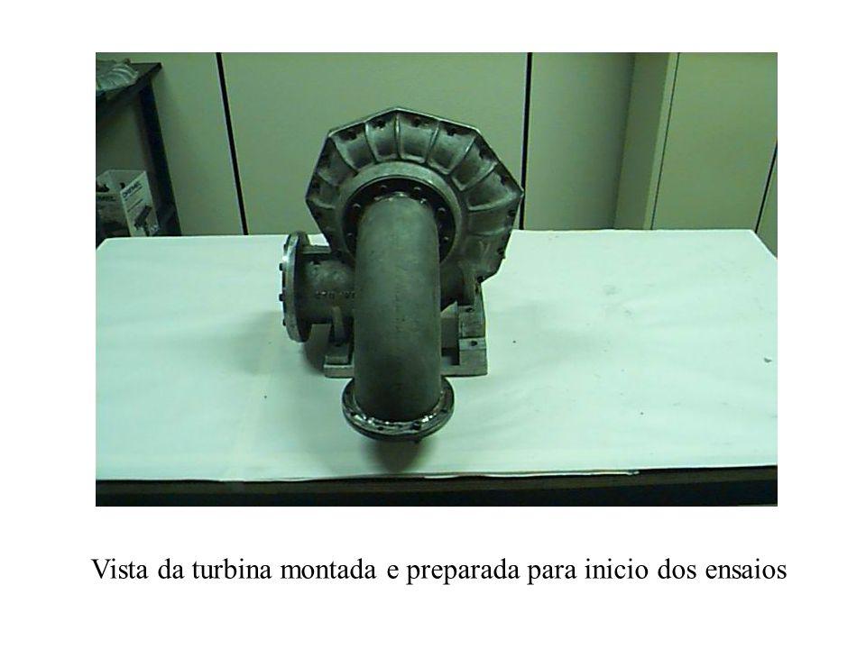 Vista da turbina montada e preparada para inicio dos ensaios