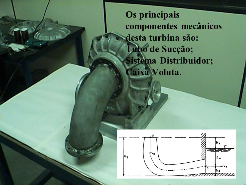 Os principais componentes mecânicos desta turbina são: Tubo de Sucção; Sistema Distribuidor; Caixa Voluta.