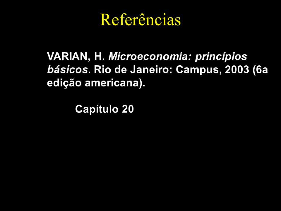 Referências VARIAN, H. Microeconomia: princípios básicos. Rio de Janeiro: Campus, 2003 (6a edição americana).