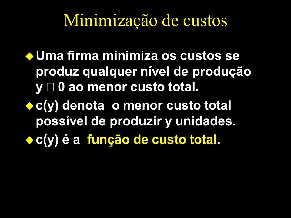 Minimização de custos Uma firma minimiza os custos se produz qualquer nível de produção y ³ 0 ao menor custo total.