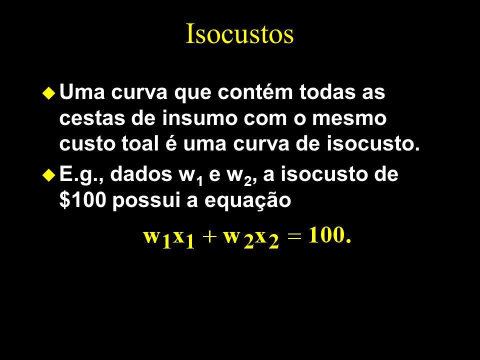 Isocustos Uma curva que contém todas as cestas de insumo com o mesmo custo toal é uma curva de isocusto.