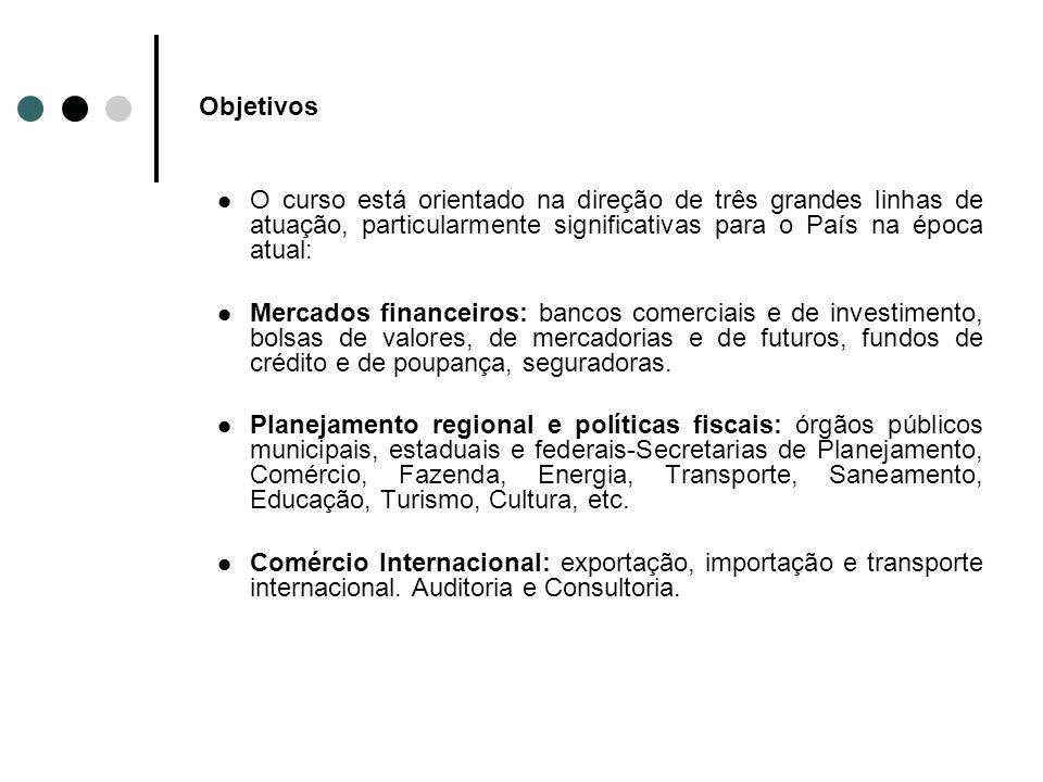 Objetivos O curso está orientado na direção de três grandes linhas de atuação, particularmente significativas para o País na época atual: