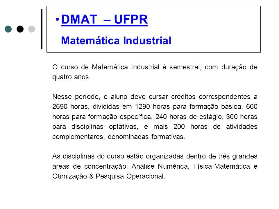DMAT – UFPR Matemática Industrial