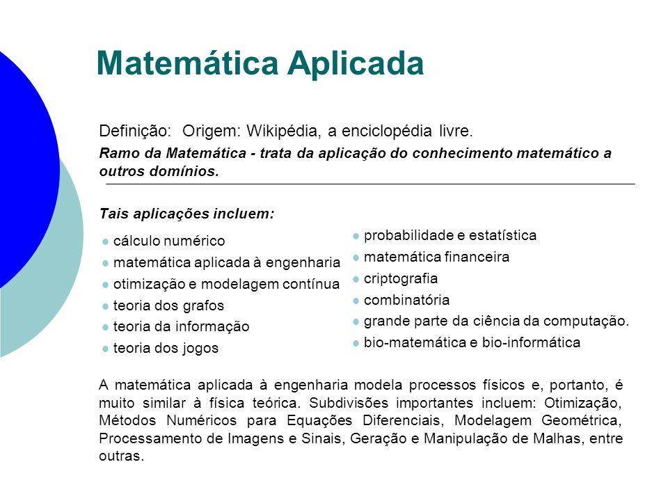 Matemática Aplicada Definição: Origem: Wikipédia, a enciclopédia livre.