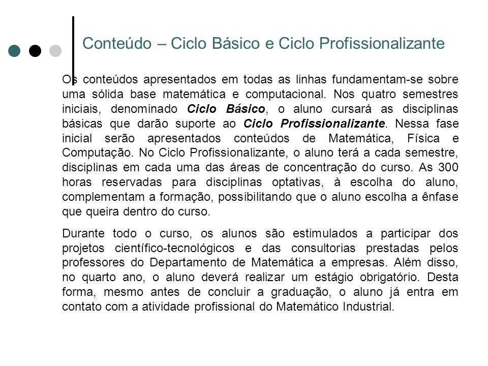 Conteúdo – Ciclo Básico e Ciclo Profissionalizante