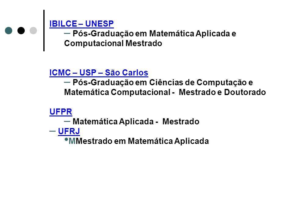IBILCE – UNESP Pós-Graduação em Matemática Aplicada e Computacional Mestrado. ICMC – USP – São Carlos.