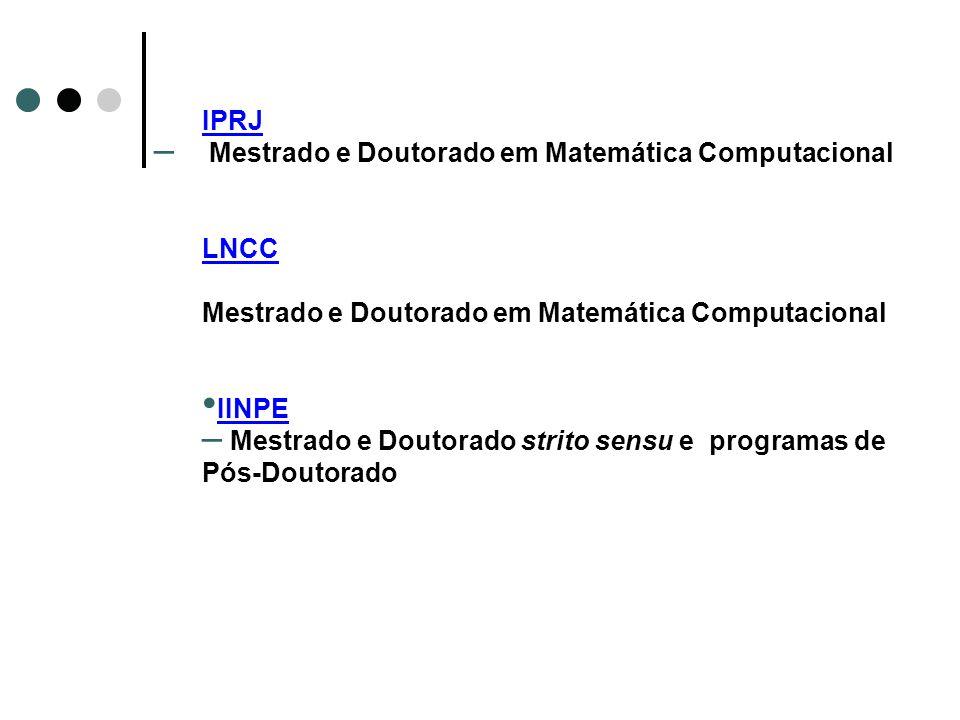 IPRJ Mestrado e Doutorado em Matemática Computacional.