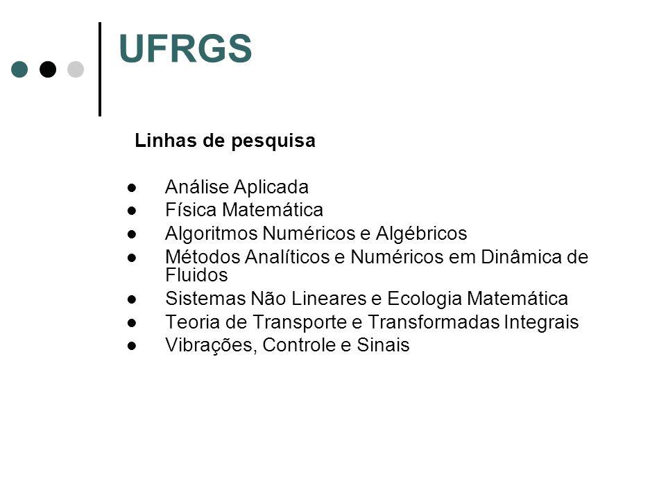 UFRGS Linhas de pesquisa Análise Aplicada Física Matemática