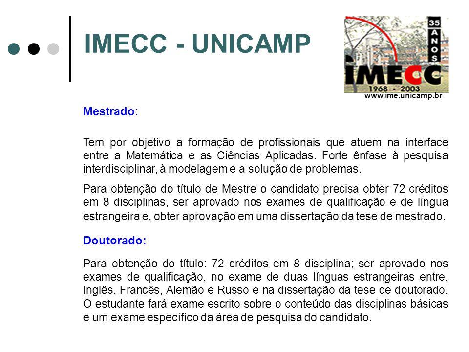 IMECC - UNICAMP Mestrado: Doutorado: