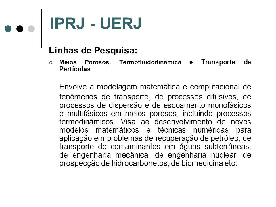 IPRJ - UERJ Linhas de Pesquisa: Meios Porosos, Termofluidodinâmica e Transporte de Partículas.
