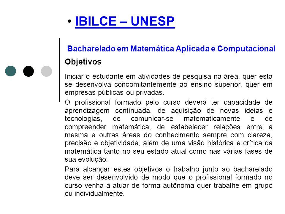 IBILCE – UNESP Bacharelado em Matemática Aplicada e Computacional