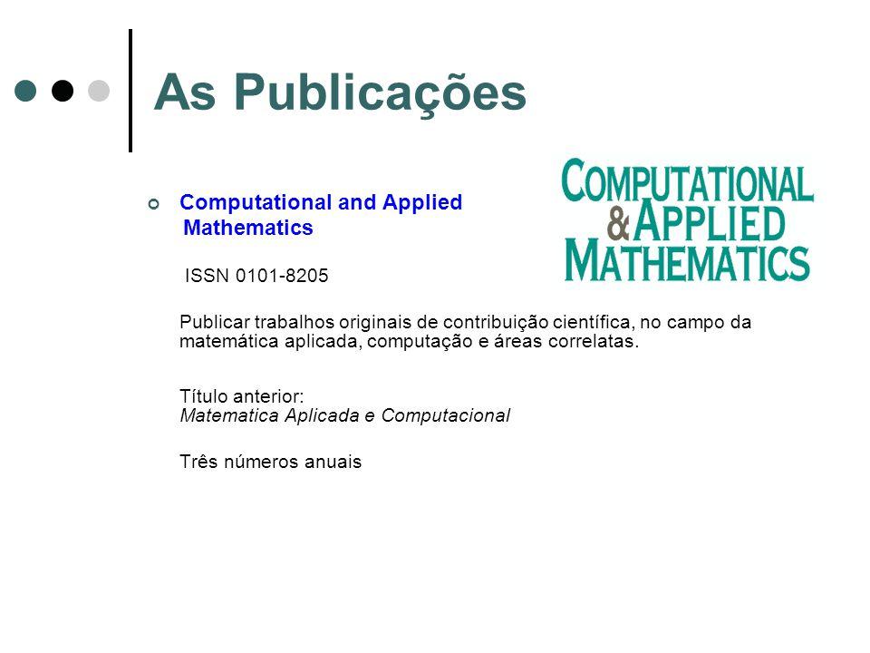 As Publicações Computational and Applied Mathematics ISSN 0101-8205