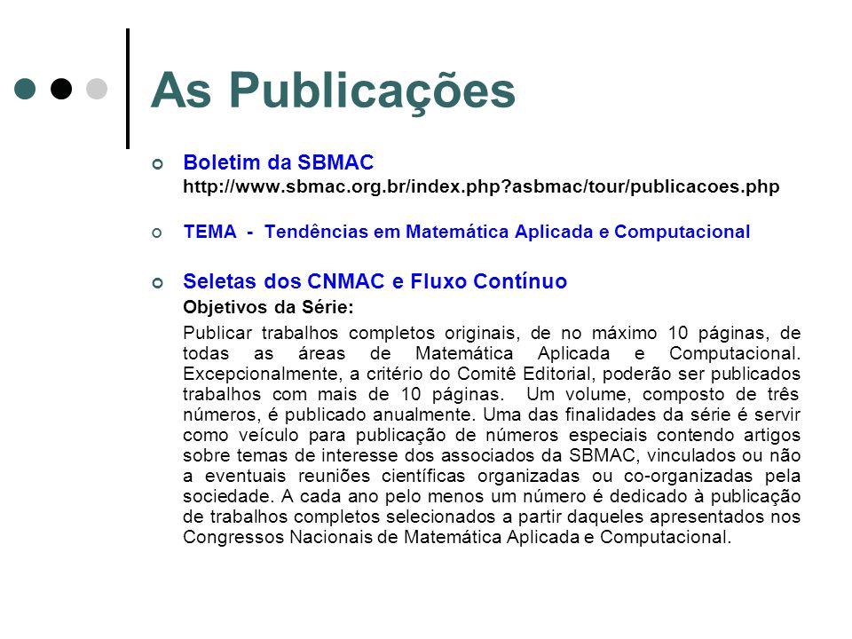 As Publicações Boletim da SBMAC Seletas dos CNMAC e Fluxo Contínuo