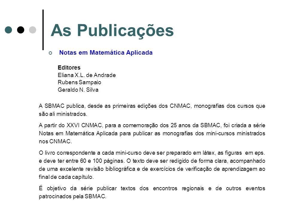 As Publicações Notas em Matemática Aplicada Editores