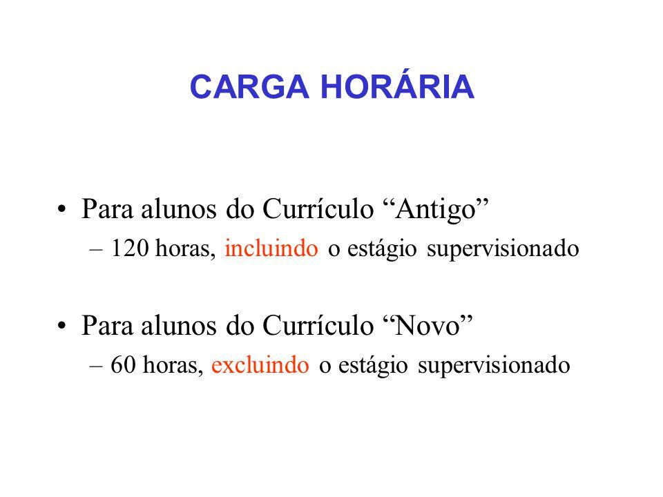 CARGA HORÁRIA Para alunos do Currículo Antigo