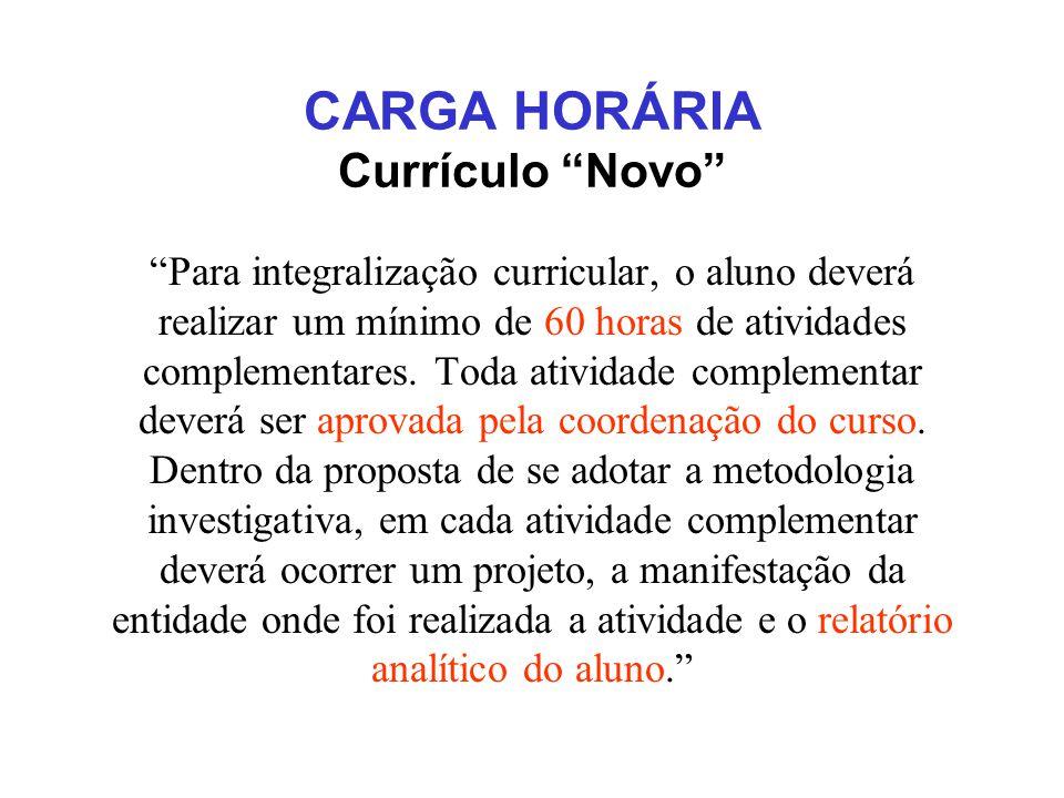 CARGA HORÁRIA Currículo Novo
