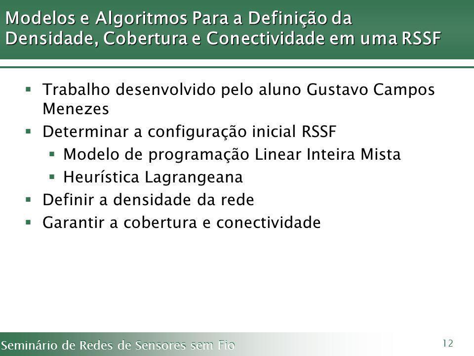 Modelos e Algoritmos Para a Definição da Densidade, Cobertura e Conectividade em uma RSSF